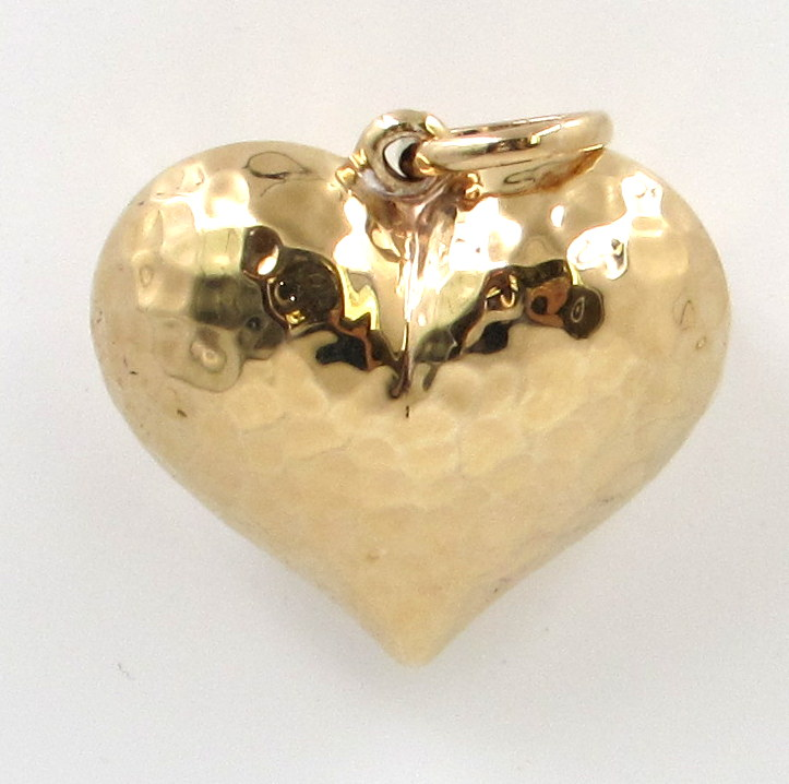 14kt yellow gold hollow polished hammered medium puffed heart 6 puffed hammered heart mozeypictures Choice Image