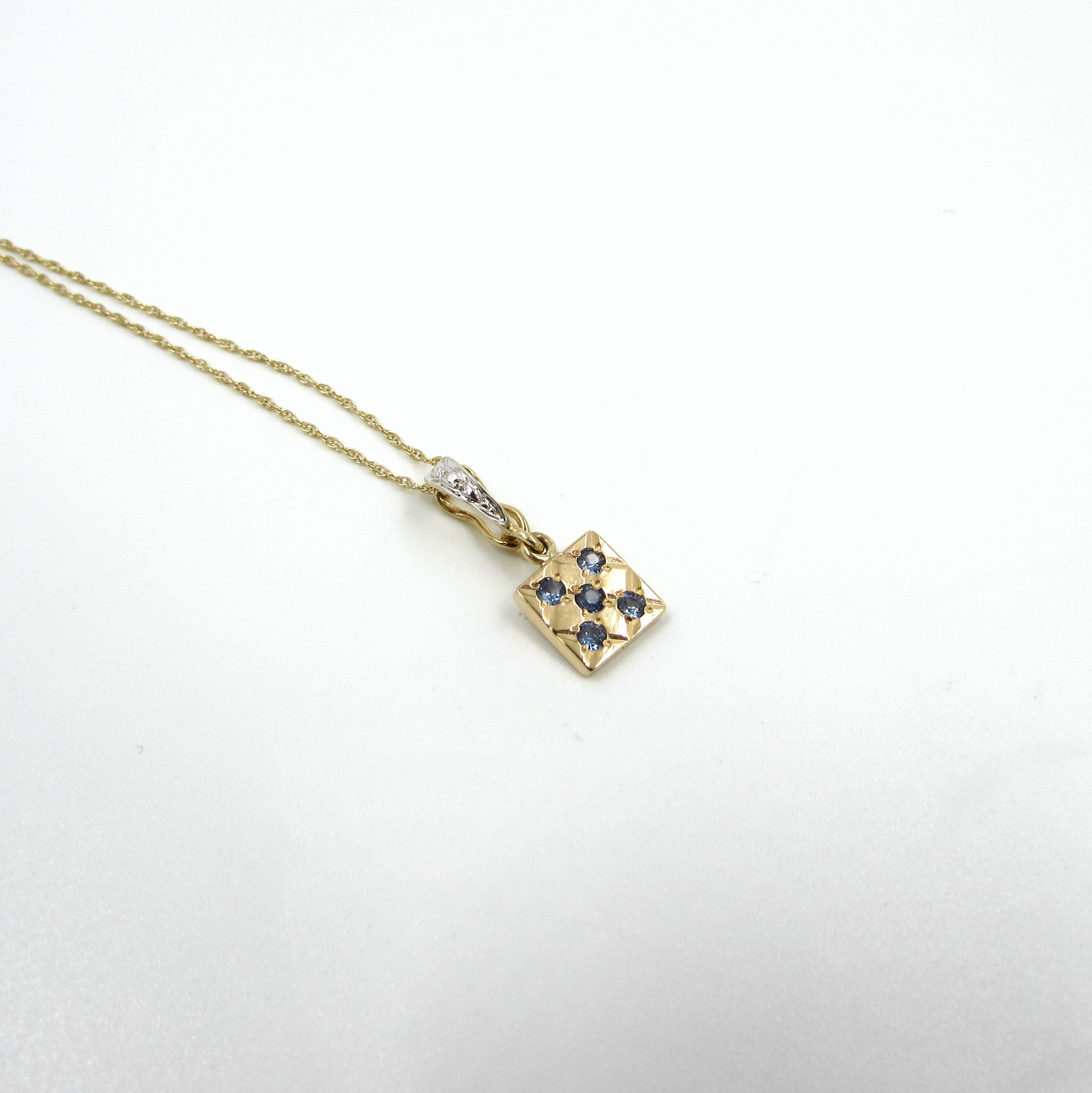 14kt yellow gold chain necklace with sapphire pendant s k ltd aloadofball Choice Image