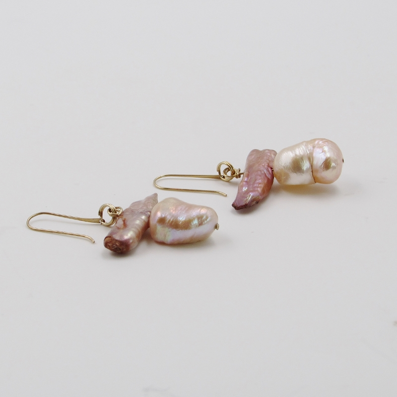 Champagne Stick Freshwater Pearl And Baroque Pink Earrings S K Ltd