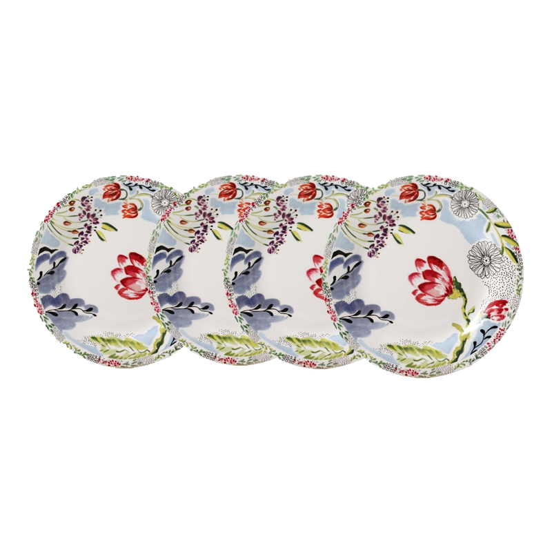 Gien flora canape plates set of 4 s k ltd for What are canape plates
