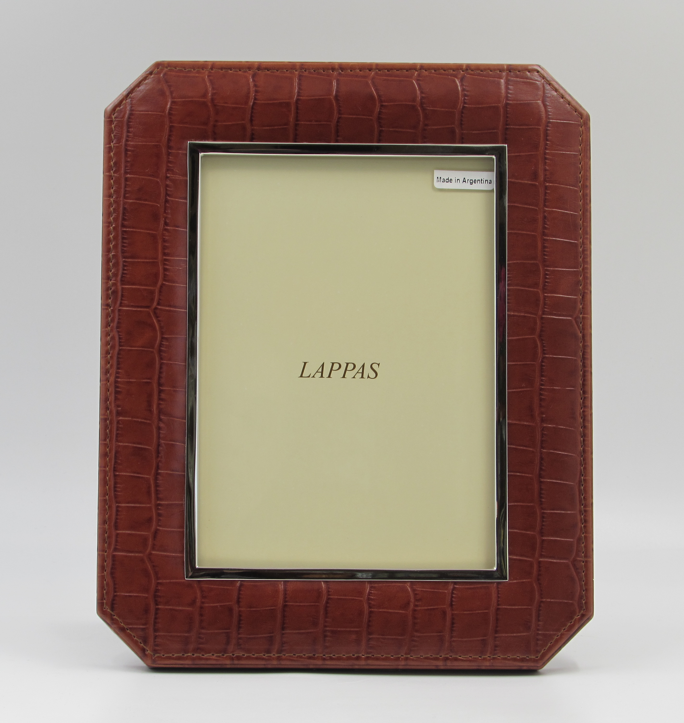 Lappas Cognac Color Leather Frame With Cut Corners Silver Plate