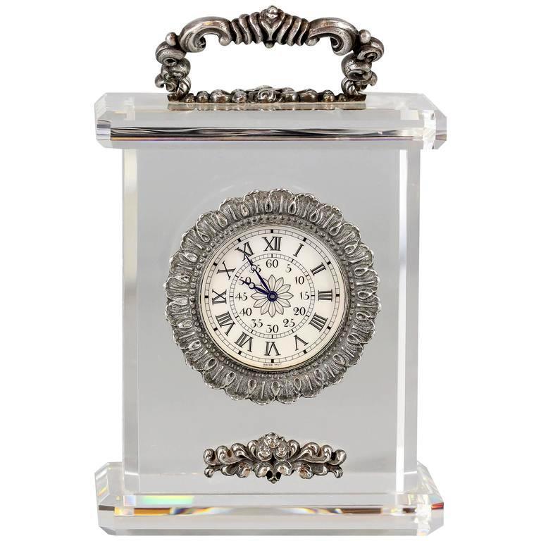Buccellati Rock Crystal Sterling Silver Limited Edition Desk Clock S K Ltd