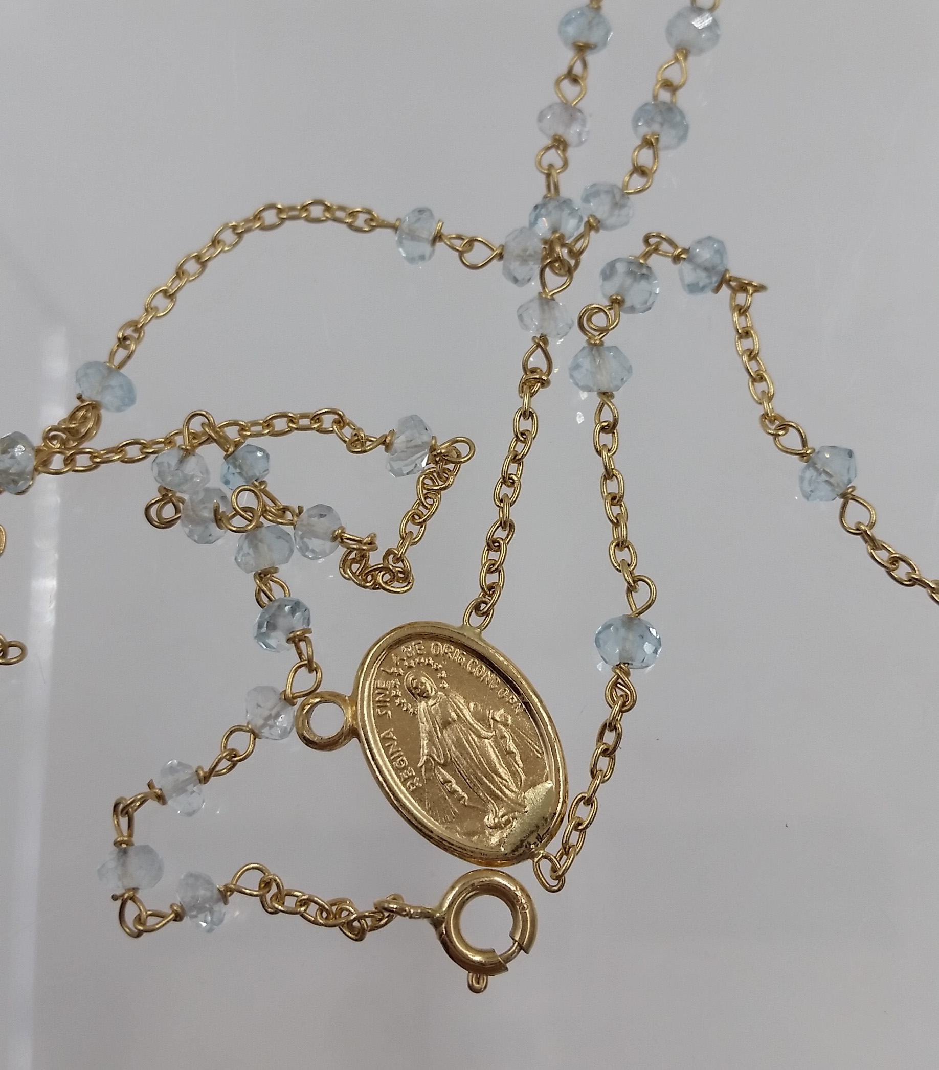 Italian 18 karat yellow gold aquamarine bead rosary necklace s k italian 18 karat yellow gold aquamarine bead rosary necklace s k ltd aloadofball Gallery