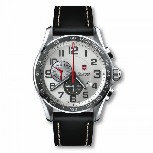 Victorinox Swiss Army Chrono Classic Xls Alarm Silver Dial Watch With Black Leather Strap 241281